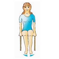 Разтваряне и събиране на стъпалата от седнало положение