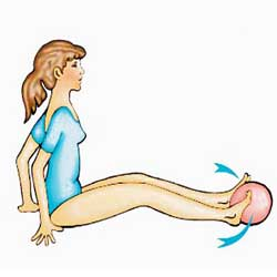 Натиск върху гумена топка с пръстите на краката от седнало положение
